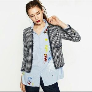 Zara Navy & White Houndstooth Tweed Blazer